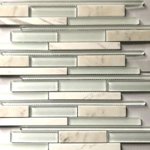 Athens Glass Carrara Marble Mosaic Sheet