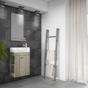 The beautiful Minimo 450 mm Shiny White Cloakroom Cabinet & Basin set.