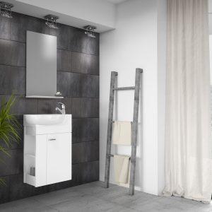 Minimo Shiny White Cloakroom Set 450 mm