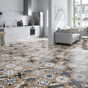 The beautiful Spanish produced Baldai Décor 60 x 60 porcelain consists of an array of colouring. Hard wearing. A perfect choice for kitchen or hallway floors.