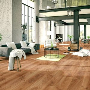 Castle Oak 12 mm Laminate Floor. Matt finish with warm colouring. This AC4 rated floor is ideal for living areas in your home. Profiles to match also available.