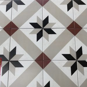 Star Red Victorian Style Floor Tile