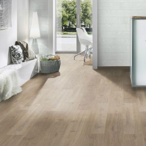 Variostep Classic Khaki Oak 12 mm Laminate Floor. AC4 wear resitance making it ideal for high traffic areas in your home. Selection of profiles to match.